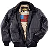 Landing Leathers Men's Navy G-1 Leather Flight Bomber Jacket - Brown M