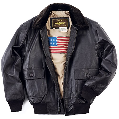 Landing Leathers Men's Navy G-1 Leather Flight Bomber Jacket, Brown, Big 3XL