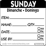 National Checking Company DateIt Square Sunday Dimanche Domingo Day of The Week Dissolvable Printed Removable Label Black | 500/Roll