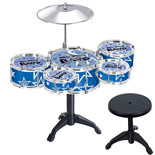 Hicy Desktop Drum Sets for Kids Musical Instrument Toy Playset Rock on Drums,Blue