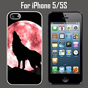 Howling Wolf Red Moon Custom Case/ Cover/Skin *NEW* Case for Apple iPhone 5/5S - White - Plastic Case (Ships from CA) Custom Protective Case , Design Case-ATT Verizon T-mobile Sprint ,Friendly Packaging - Slim Case by icecream design