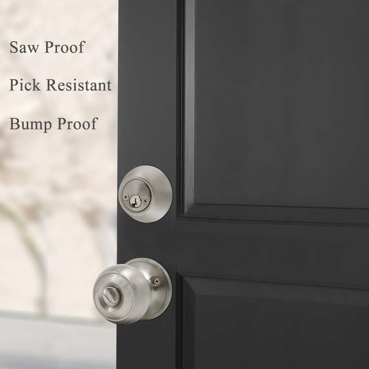 1Pack Oil Rubbed Bronze Probrico Keyed Alike Round Ball Entry Door Knob and Double Cylinder Deadbolt Set