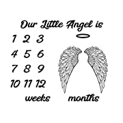 Baby Milestone Blanket with Weeks and Months - Our Little Angel - 30x40 inches - Soft, Light-weight, Fleece Swaddle Photo Prop