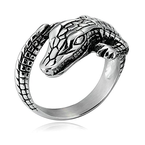 AnaZoz Gothic Jewelry Mens Biker Stainless Steel Punk Snake Rings Size 13