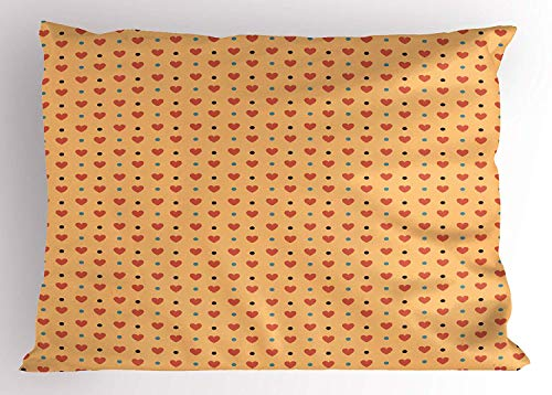 XGUPKL Romantic Pillow Sham, Valentines Day Inspired Love Couple Sign Hearts and Retro Polka Dots, Decorative Standard Queen Size Printed Pillowcase, 30 X 20 inches, Coral Pale Orange Blue