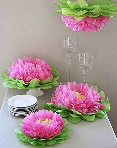 Set of 8 Pink Tissue Paper Flowers - Birthday Party Decorations, Bachelorette, Bridal Shower, Baby Shower, Wedding, Valentines Day Party Decorations (BrightandBold) (Shower Garden Baby)