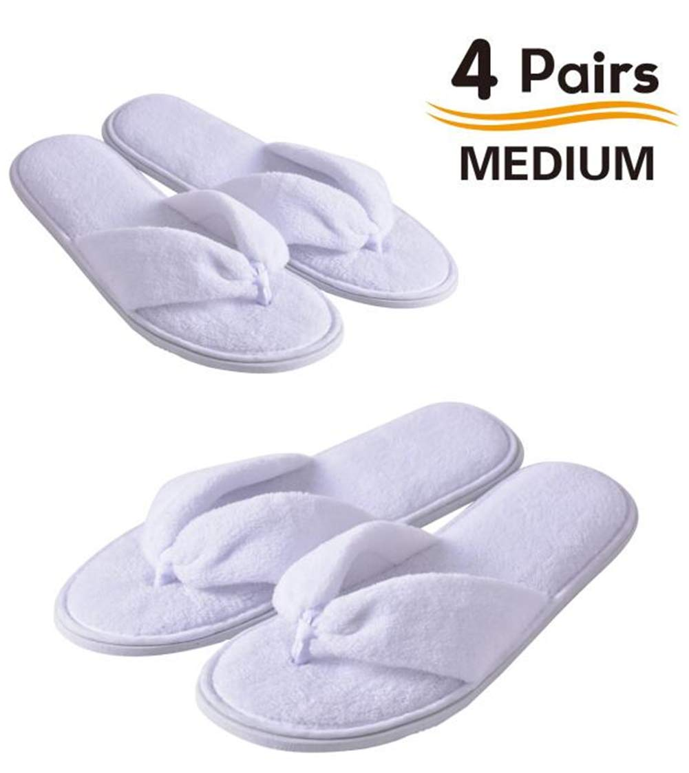 Flip Flops Spa Slippers 4 Pairs Guest Slippers Hotel Slippers in Salons Guest Room Hospital Washable Not Disposable by Eucoz