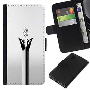 LECELL--Cuero de la tarjeta la carpeta del tirón Smartphone Slots Protección Holder For LG Nexus 5 D820 D821 -- Resumen Cara Blanca --