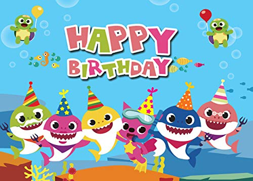 (AIIKES 7x5FT Baby Shark Party Backdrop Vinyl Birthday Photo Background Undersea World Shark Whale Tortoise Photography Backdrop Photo Studio Props Cake Party Decoration 11-471)