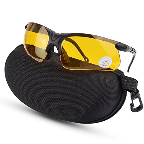XAegis Shooting Glasses with Case, Polycarbonate Lens and Rubber Nose Padding Anti Fog Hunting Safety Glasses for Men & Women - Eye Protection,Yellow Lens