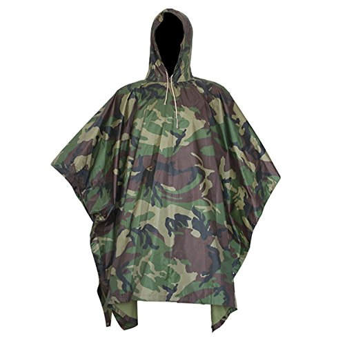 Nylon Rainwear Poncho - Yosoo Multifunction Military Portable Emergency Rain Poncho Camouflage Slicker, Ripstop Raincoat Camo Nylon Totes Travel Rainwear for Hiking, Hunting, Camping, Cycling (Camouflage Style 2)