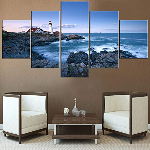- Artwork for Home Walls Portland Head Lighthouse at Dusk Paintings Maine Coastline Picture for Living Room 5 Piece Modern Prints Wall Art on Canvas Framed Gallery-Wrapped Ready to Hang(60''Wx32''H)