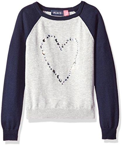 The Children's Place Little Girls' Raglan Pullover Sweater, Gray, S (5/6)
