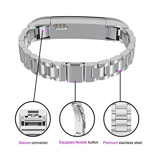 For Fitbit Alta HR Bands Adustable Replacement Steel Stainless Accessory Fitbit Alta Smartwatch Fitness Tracker Small large for Men & Women Alta Wristbans (Silver 1) by WOCOOL (Image #1)
