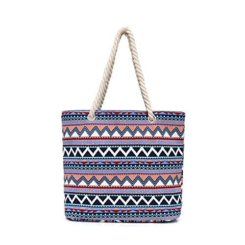 Dreamdeer Bohemian Design Large Striped beach bag tote bag with inner pockets ,Canvas shoulder bag for Women (Blue White)