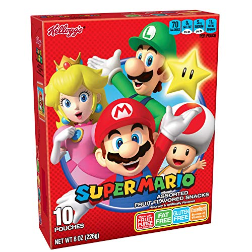 Kellogg's Super Mario, Fruit Snacks, Assorted Fruit Flavored, Gluten Free, Fat Free, 8oz Box (10 Count)
