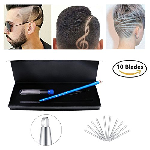 Hair Tattoo Trim Styling Face Eyebrow Shaping Device, Hair Styling Tools,Engraved Pen + 10 Blades + Tweezer Hair Styling Eyebrows Beards Razor Tool/ DIY Hair Tool For Womens,Mens and - Your Shaping Face