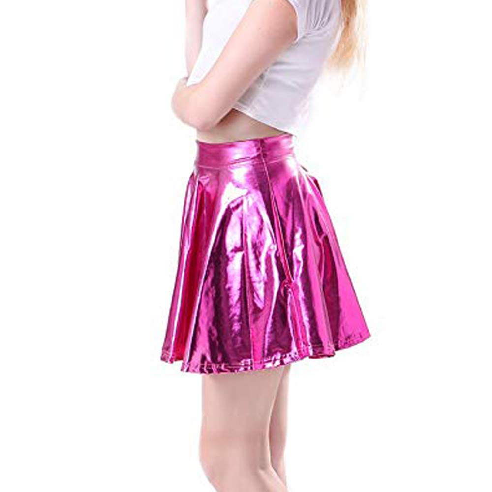 HULKAY Women Skirts Upgrade Leather Flared Pleated A-Line Circle Costume Skater Dance Skirt for Womens