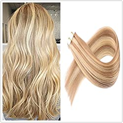 "YOUDO [Full Head Set] 16"" 20 Pieces per Set 50 Gram Remy Human Hair Tape in Hair Extensions Colour Color #16 Dirty Blonde Fading to Color #22 Blonde Ombre Hair Weft 100% Real Human Hair Extension"