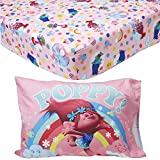 EVERYDAY KIDS Toddler Fitted Sheet and Pillowcase Set - Soft Microfiber, Breathable and Hypoallergenic Toddler Sheet Set (Trolls)