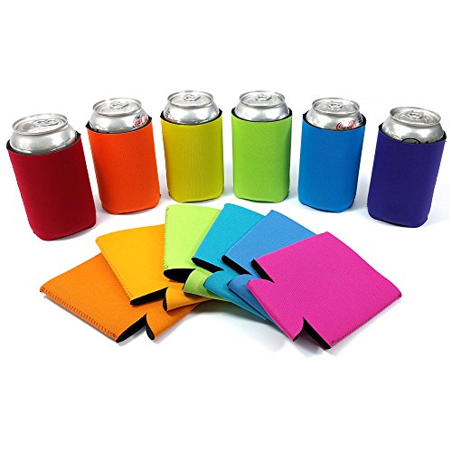 12 Beer Can Coolers, Neoprene Collapsible Blank Sleeves for Bottles and Cans, Assorted Colors
