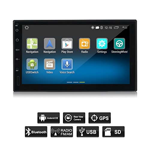 OUTAD Touch Screen Car Stereo with Navigation, Double Din Android 5.1 Car Radio Stereo 7 Inch Touch Screen HD 1024x600 GPS Navigation FM Bluetooth WIFI USB SD Mirror Link with Rear View Camera by OUTAD