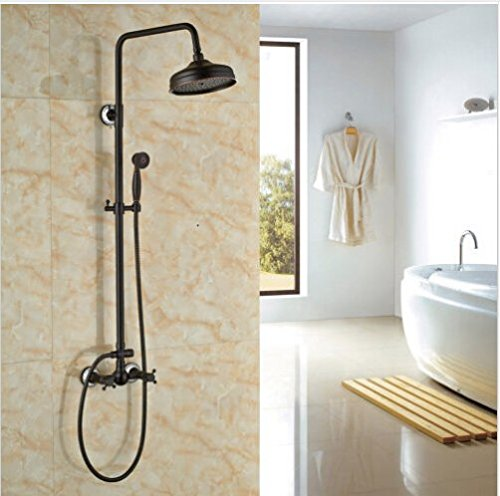 Gowe Oil-rubbed Bronze Bath Rainfall Shower Set 8 Top Showerhead with Hand Spray 0