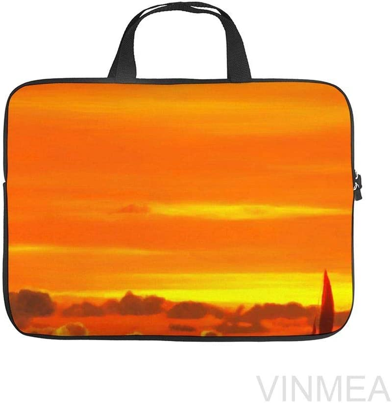 17 Inch Laptop Bag with Handle Water Resistant Sailboat Sunset 1 Laptop Briefcase for Working School Men /& Women