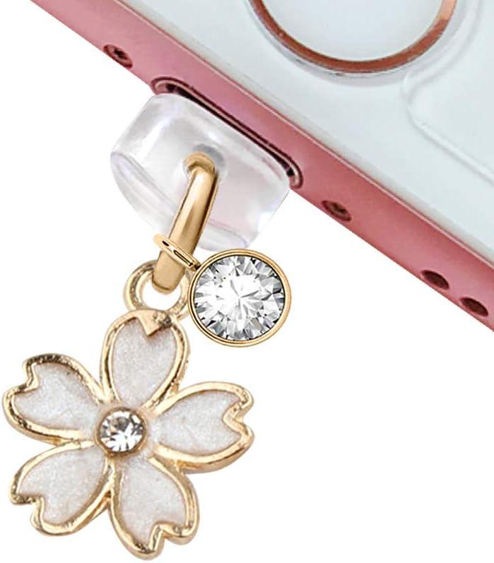 CP158 USB Charging Port Anti Dust Plug Cute Little White Cherry Blossom Pendant Phone Charm for iPhone 11/ XS MAX/XR/X/8 Plus/7/6S/7/SE iPad iPod