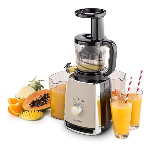 Klarstein Sweetheart Slow Juicer Entsafter elektrische Saftpresse für frische Vitamindrinks (150 Watt, 32U/min,Schneckenpresswerk, 2 x 900ml Behälter, Edelstahl-Sieb) schwarz