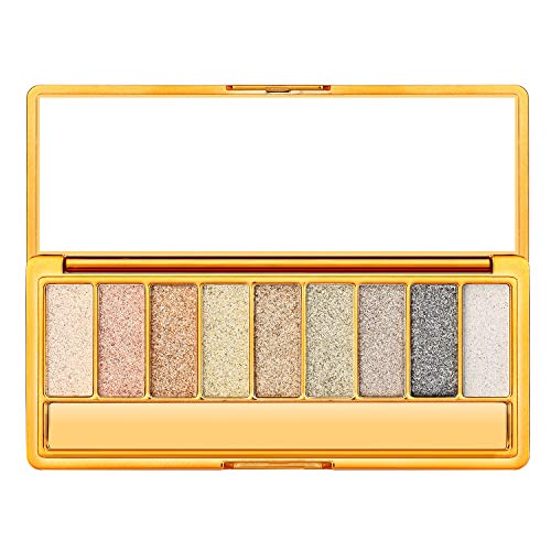Palette Metallic (Christmas Gift for Women, Glitter Eyeshadow Palette Ultra Pigmented Eye Shadow Powder 9 Colors Makeup Sparkly Palette for Wedding Evening Party)