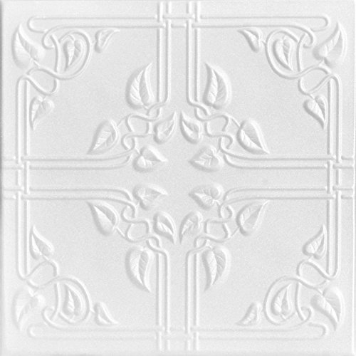 A la Maison Ceilings 8112 Ivy Leaves - Styrofoam Ceiling Tile (Package Of 8 Tiles), Plain White