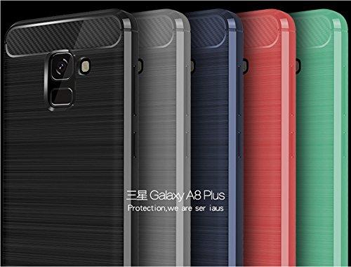 Funda Samsung A8 Plus 2018,Funda Fibra de carbono Alta Calidad Anti-Rasguño y Resistente Huellas Dactilares Totalmente Protectora Caso de Cuero Cover Case Adecuado para el Samsung A8 Plus 2018 C