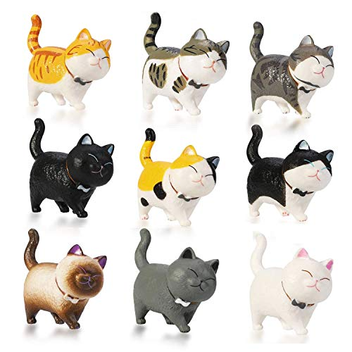 Chris.W 9Pcs Cute Cat Figurines Miniature Cats Figures Collection Toy Set, Dollhouse Cake Topper, Plant, Car, Home, Office, Easter Eggs Decoration