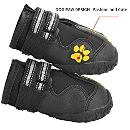 EXPAWLORER Waterproof Dog Boots with Reflective Velcro and Anti-Slip Sole for Medium to Large Dogs, Black 7