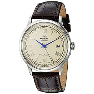 Orient Men's '2nd Gen. Bambino Ver. 2' Japanese Automatic Stainless Steel and Leather Dress Watch, Color:Brown (Model: FAC00009N0