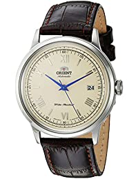 Men's '2nd Gen. Bambino Ver. 2' Japanese Automatic Stainless Steel and Leather Dress Watch, Color:Brown (Model: FAC00009N0)