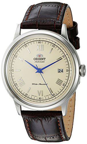 Orient Men's 2nd Gen. Bambino Ver. 2 Stainless Steel Japanese-Automatic Watch with Leather Strap, Brown, 21 (Model: FAC00009N0) (Crystal Heart Watch Leather Band)