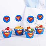 Astra Gourmet Superman Cupcake Toppers and Wrappers Birthday Party Supplies, Superhero Party Decoration - Set of 24