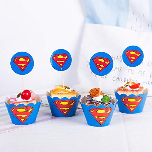 - Astra Gourmet Superman Cupcake Toppers and Wrappers Birthday Party Supplies, Superhero Party Decoration - Set of 24