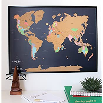 Amazon scratch off world map deluxe personalized travel map scratch off world map poster with us states included scratchable world travel map 18x24 easy to frame perfect gift for travelers and teachers gumiabroncs Image collections