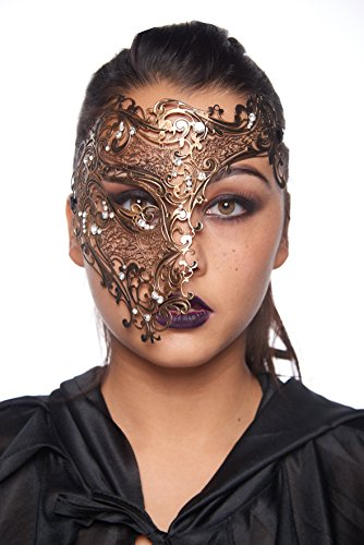 Spellbinding Phantom Vintage Gold Masquerade Mask (Unisex; One Size Fits Most; Unisex; Clear Rhinestones; (Masquerade Masks Gold)