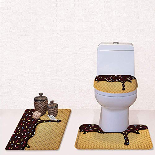 Contour Dessert - Print 3 Pcss Bathroom Rug Set Contour Mat Toilet Seat Cover,Waffle Chocolate Flavor Dessert Delicious Backdrop Stylish Graphic with Dark Brown Mustard,decorate bathroom,entrance door,kitchen,bedroo