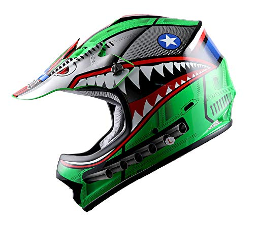 WOW Youth Kids Motocross BMX MX ATV Dirt Bike Helmet Shark Green