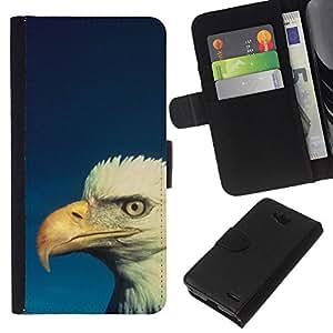 All Phone Most Case / Oferta Especial Cáscara Funda de cuero Monedero Cubierta de proteccion Caso / Wallet Case for LG OPTIMUS L90 // Bald Eagle Blue White Patriotic Bird