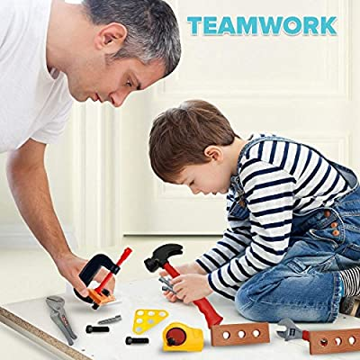 Skoolzy Kids Tool Set Toddler Toys Construction Montessori Materials with Real Cordless Drill, Tape Measure, Screwdriver, Toy Hammer, Wrench, Nuts and Bolts | 29 Pretend Play Tools with Toy Storage: Toys & Games