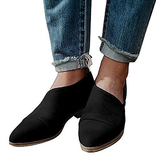 JOYTO Women Pointed Toe Flat Casual Shoes, Leather Loafer Cut Out Open Side Slip on Sandals Fashion Summer Comfortable Lazy Black Brown Grey 3-8.5 Black