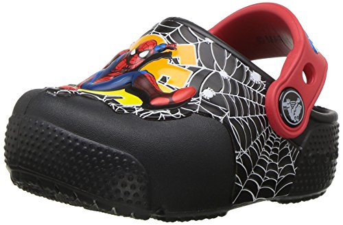 crocs Boys' Crocsfunlab Lights Spiderman Clog, Black, 6 M US Toddler]()