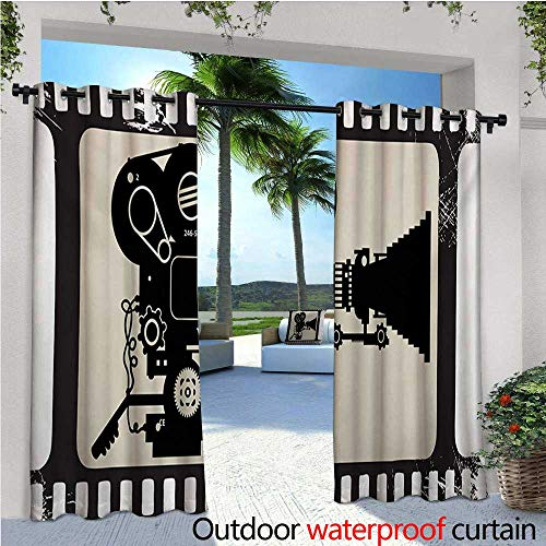 Movie Theater Outdoor- Free Standing Outdoor Privacy Curtain Movie Frame Pattern with Silhouette of Movie Reels in a Projector for Front Porch Covered Patio Gazebo Dock Beach Home W108 x L108 Dark