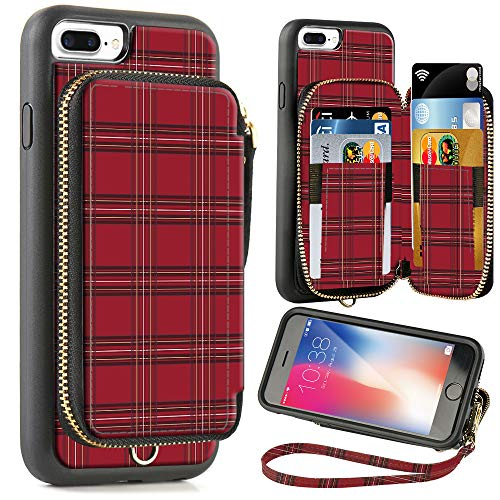 - ZVE Wallet Case for Apple iPhone 8 Plus and iPhone 7 Plus, 5.5 inch, Zipper Wallet Case with Credit Card Holder Slot Handbag Purse Case for Apple iPhone 8/7 Plus 5.7 inch - Red Plaid